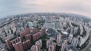 T/L TD鱼眼和北京天际线鸟瞰/中国北京