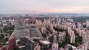 T/L PAN北京天际线高角度视图/北京,中国