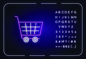 绘画插图,数字,超级市场,商店,篮子,字母,霓虹灯,矢量,购物车,符号