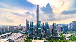 深圳现代建筑外观,延时/深圳,中国。