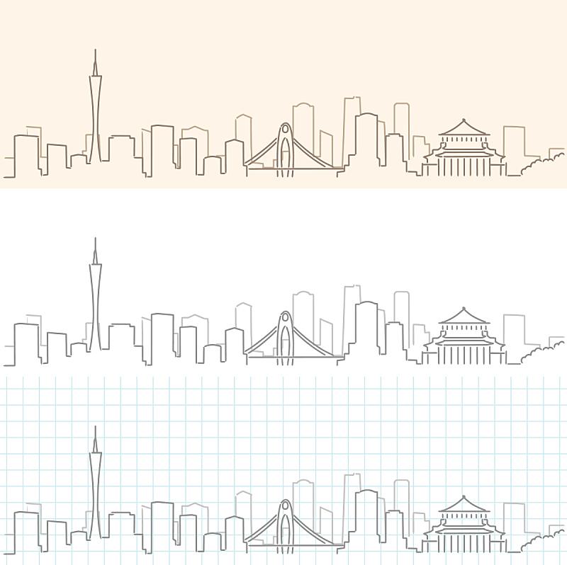 广州,城市天际线,城市,线条画,草图,亚洲,铅笔,绘制,剪影