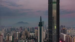 中国日以继夜深圳城市垂直全景 时差
