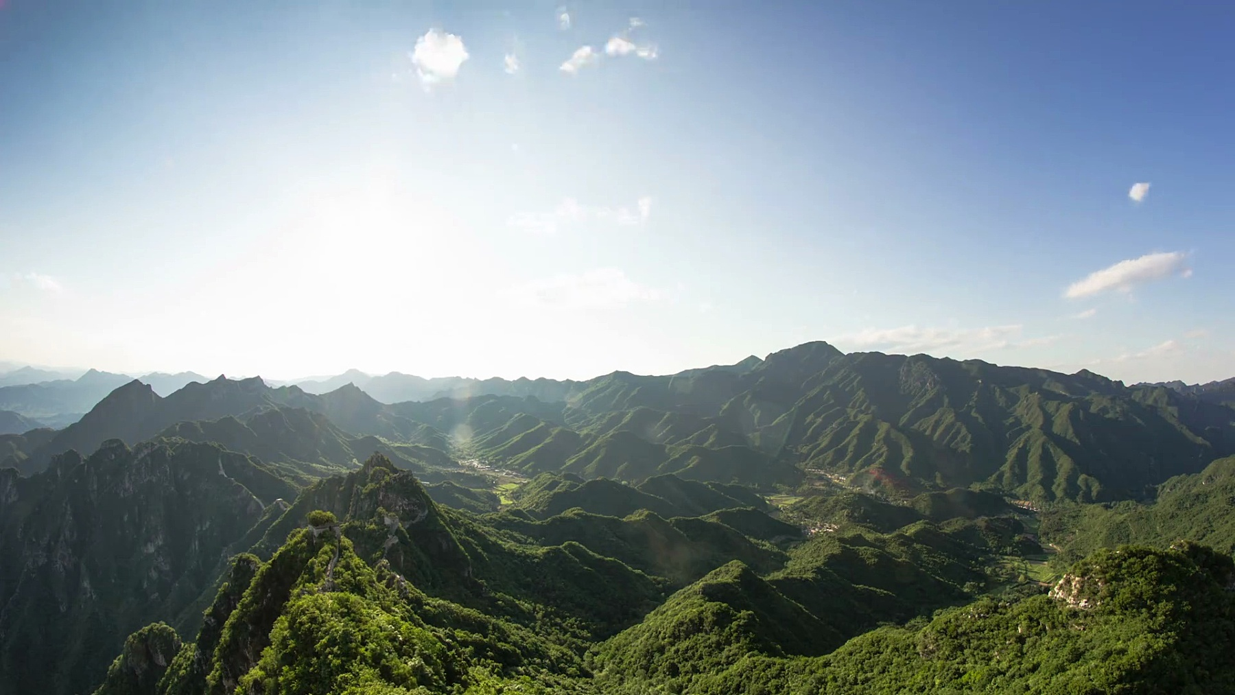 中国长城一天到星星的延时摄影