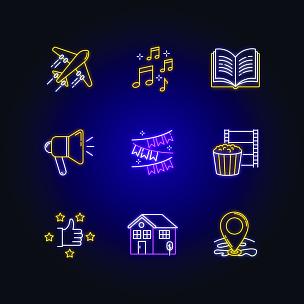 矢量,电影院,霓虹灯,计算机图标,标志,音符,发光,旅行,飞,装饰