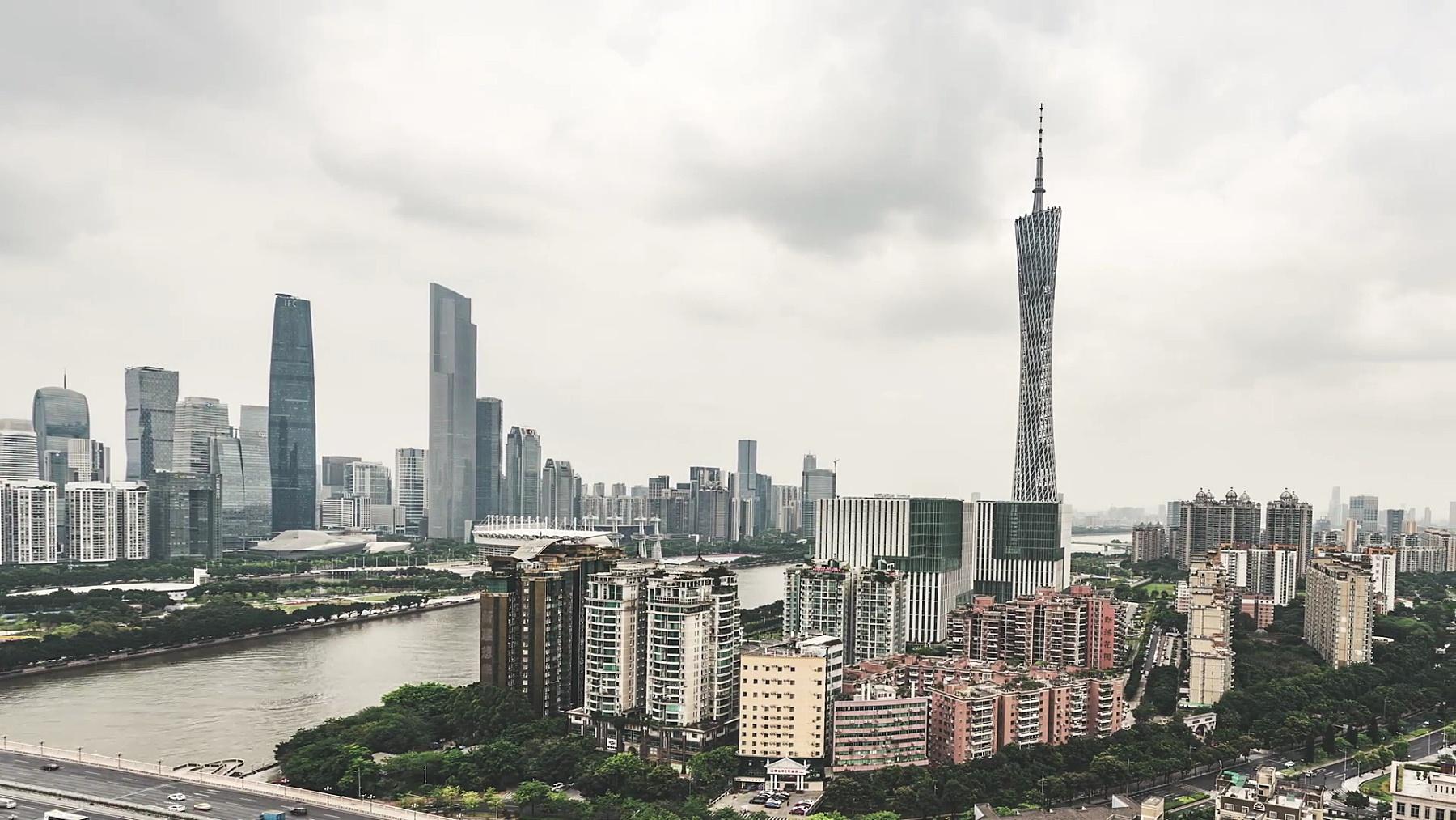 广州天际线T/L PAN高角度视图/中国广东