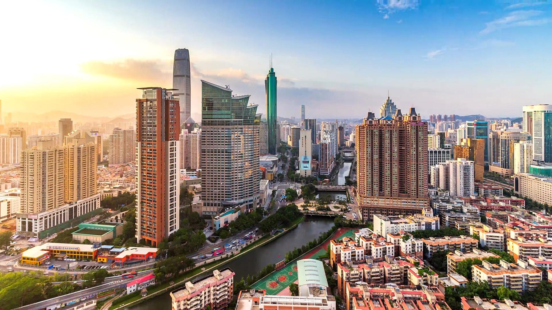 深圳金融中心天际线,延时摄影/深圳,中国