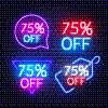 霓虹灯,数字75,背景,百分比号,黑色,对话气泡框,商业广告标志,商务,复古风格,市场营销