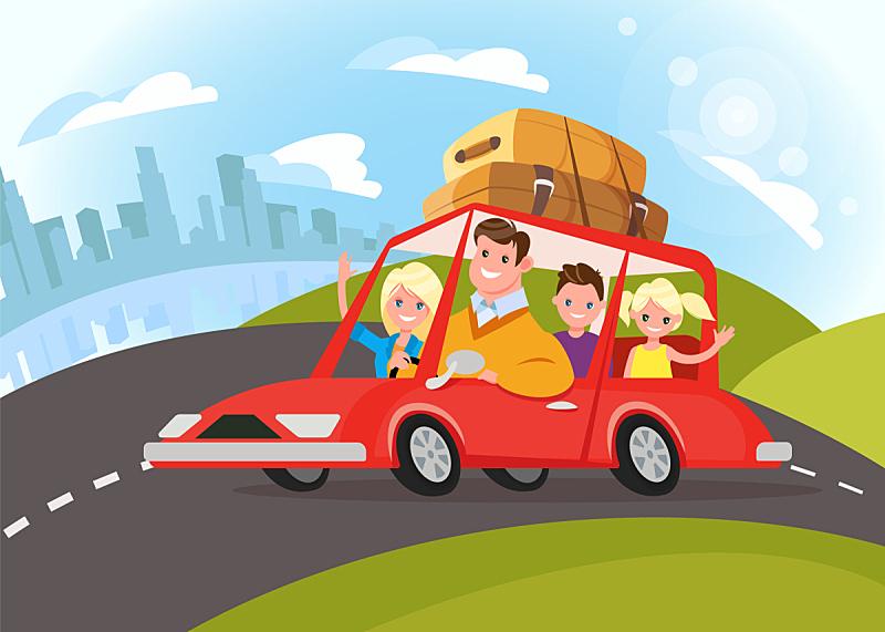 汽车,家庭,旅游目的地,幸福,父母,旅行者,儿子,旅行,旅游,探险
