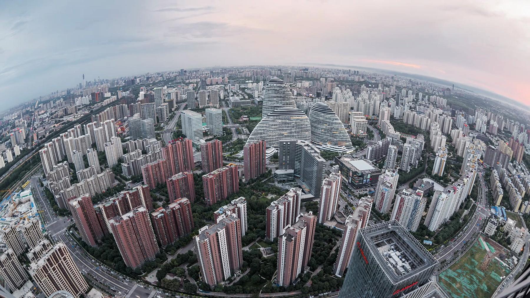 中国北京/北京市中心T/L菲舍耶景观(T/L Fisheye View of Downtown Beijing/Beijing,China)