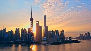 上海浦东日出,中国上海。