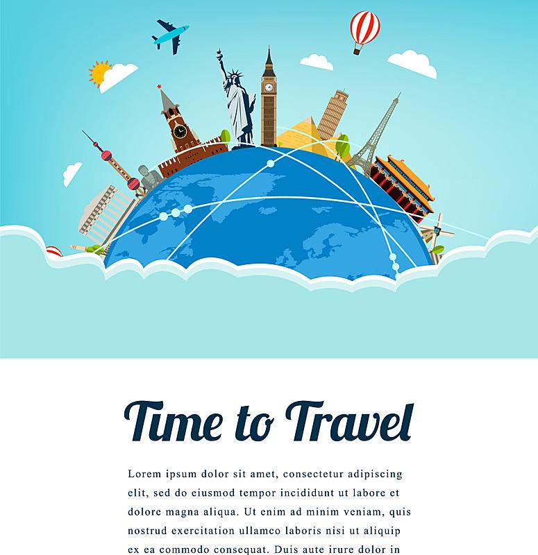 名声,地球形,国际著名景点,旅途,商务,模板,飞机,构图,旅行,休闲