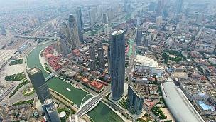 中国天津现代建筑与城市景观航拍
