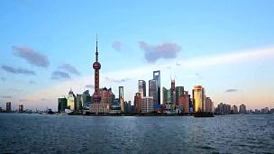 上海从早到晚,延时摄影。