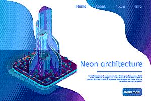 城市,现代,建筑业,建筑,智慧,霓虹灯,三维图形,未来,矢量,插画