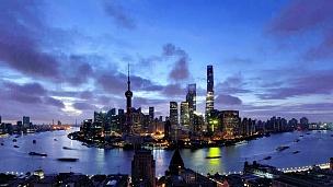 上海城市景观鸟瞰,黎明到白天的延时摄影