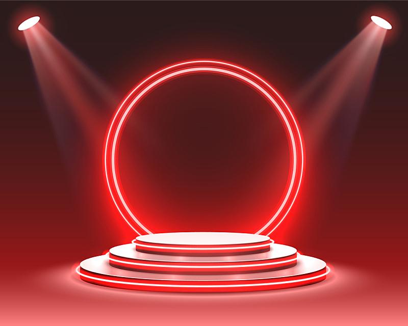 舞台,指挥台,景象,颁奖典礼,三维图形,底座,红色,明亮,照亮