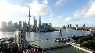 上海天际线和城市景观的 延时摄影