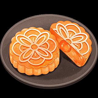 中国风传统美食糕点插画-月饼