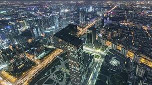 T/L WS HA TU夜间北京天际线大角度视图