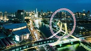 时间的流逝-天津之眼的城市景观与天津城市的夜景天际线