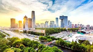 北京交通繁忙,延时摄影。
