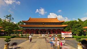 中国晴天珠海著名的新元明公园全景 延时
