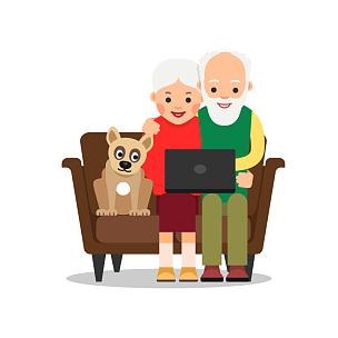 老年人,祖父母,网上交友,老年伴侣,插画,白色人种,祖父,祖母,人,男人