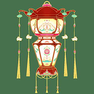 中国风-手绘中秋节花灯节日元素6