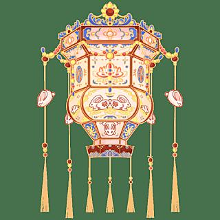 中国风-手绘中秋节花灯节日元素4