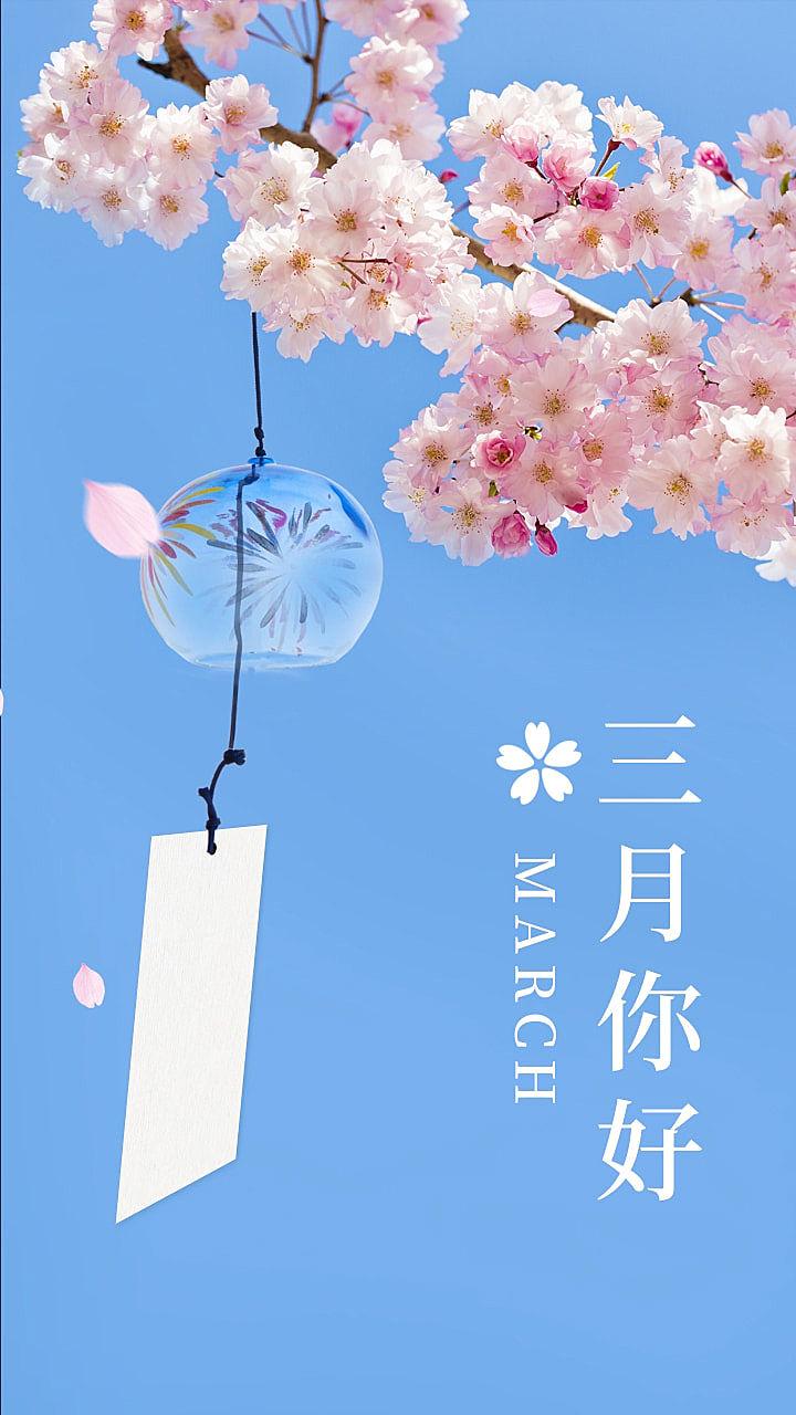 樱花唯美三月问候祝福长图海报